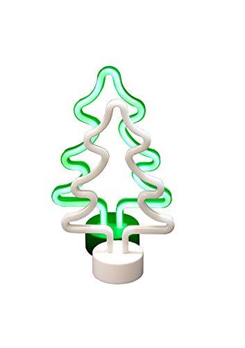Classic Line 10095537LED Neon Luz de árbol de Navidad, Altura Aprox. 30cm, Color Blanco/Verde