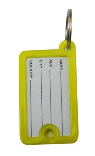 Ailisi ID Key tag etichetta double-face con finestra anello color giallo, confezione da 20