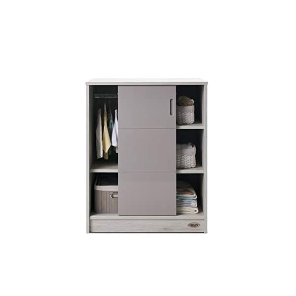 Obaby Madrid Storage Unit, Lunar Obaby Left side offers the option of a hanging rail and shelf or three shelves Right side has 3 fixed shelves Option to add the removable changing top to turn into a changing unit 3