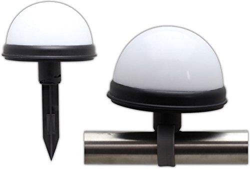 LED Solar Kugelleuchte Solarleuchte mit 2 LEDs Ø 11 cm für Boden, Wand oder Geländer 2 Stück