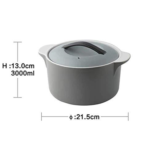 WJMLS Doppel Griff Deckel Reine SuppeTureen Keramik Terrine Suppe Keramik runde Teller Auflauf/Tontopf/Tontopf/Keramik-Kochgeschirr mit Deckel Hitzebeständige (Color : Gray)