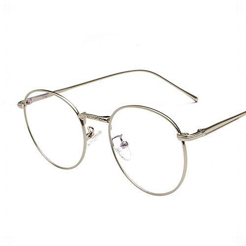 Easy Go Shopping Runde Rahmen Brillengestell Frauen/Männer Retro Runde Gesicht flachen Spiegel Kick Ball Myopie Rahmen. Sonnenbrillen und Flacher Spiegel (Farbe : Silver)