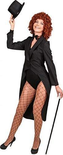 Fancy Me Damen Showman Zauberer Zirkusdirektor Jacke TV Buch Film musikalisch Zirkus Karneval Kostüm Kleid Outfit Frack - Schwarz, UK 18-20 (EU 46/48) (Zirkus Kostüme Uk)