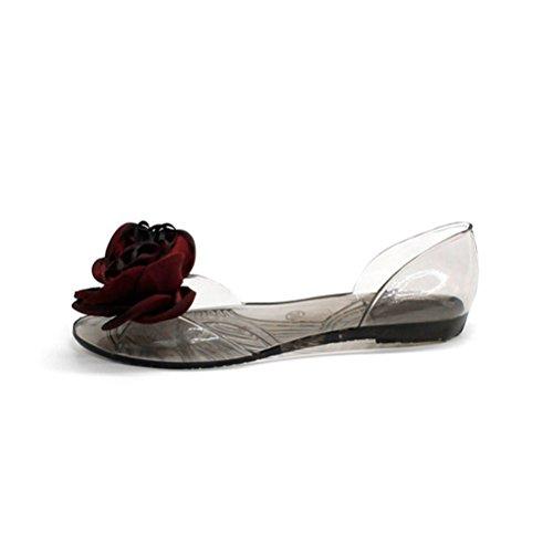 Damen Sandalen Gelee Sweet Flowers Flats Peep Toe Weiche Rutschen Kristall Schuhe Strand Flip Flop -