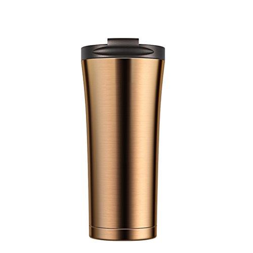 Flacon à vide en acier inoxydable de grande capacité tasse à café avec la tasse de couvercle les hommes d'affaires facilement tasse tasse portative de sports de mode (Color : Brown)