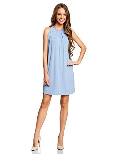 oodji Collection Damen Gerades Kleid mit Schnurband am Rücken, Blau, DE 34 / EU 36 / XS