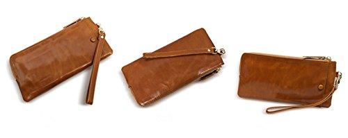 Xinmaoyuan Portafogli donna borsa a mano lungo paragrafo Olio cuoio cera Ladies Wallet fascetta a mano Zipper Bag,Nero Brown