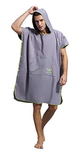 Winthome Wickelhandtuch Poncho mit Tasche zum Surfen Schwimmanzug wechseln, Quick Dry & Light Weight (grau)