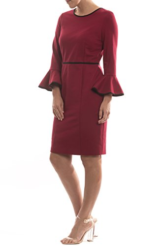Joseph Ribkoff Fitted Red Flare Sleeve Dress Style 174309