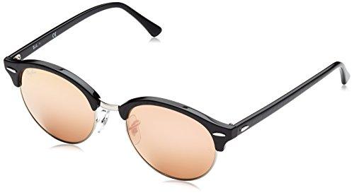 Ray Ban Unisex Sonnenbrille Clubround, Mehrfarbig (Gestell: schwarz-Silber, Gläser: braun verspiegelt Kupfer 1197Z2), Medium (Herstellergröße: 51)