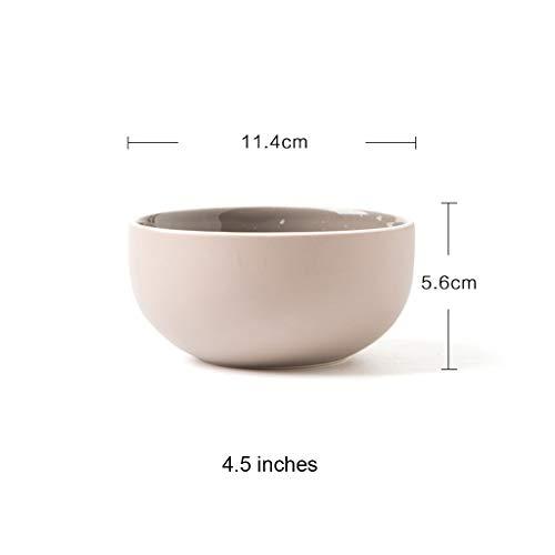 CJW Vaisselle en céramique simple bol de riz/bol à nouilles/bol à soupe/bol plat 4,5 pouces (Color : Warm gray)