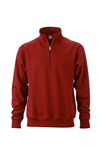 JAMES & NICHOLSON Sweatshirt mit Stehkragen und Reißverschluss Wine