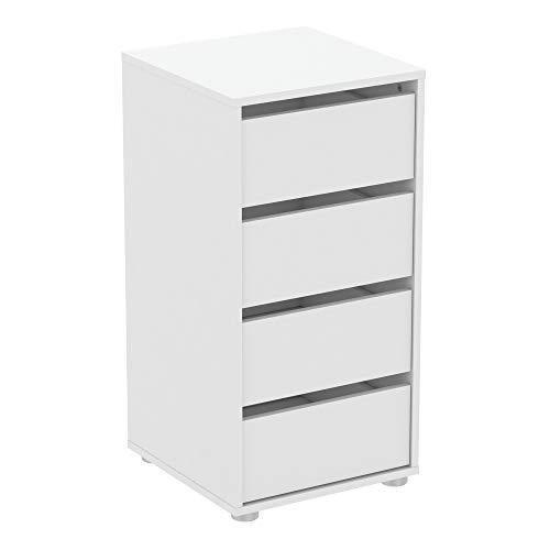 Demeyere - Cómoda de aglomerado, Blanco Perla, W.40 cm 39,3x39,6x76,3 cm