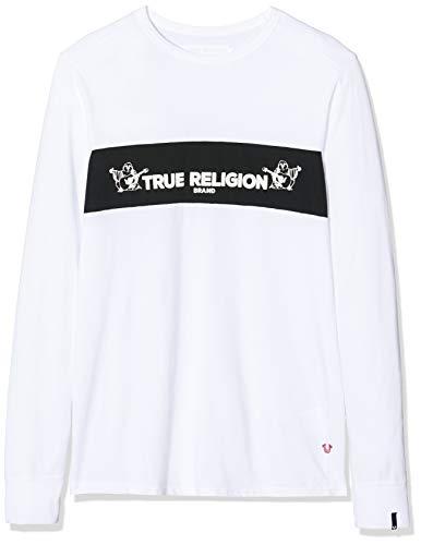 True Religion Herren Crew LS TR Langarmshirt, Weiß (White 1700), X-Large (Herstellergröße: XL)