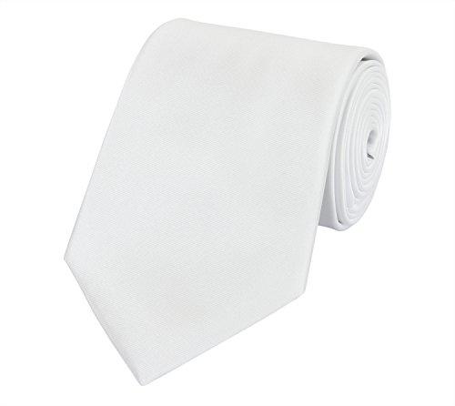Fabio Farini Seidenweiche Krawatte 8 cm in verschiedenen Farben, Weiß