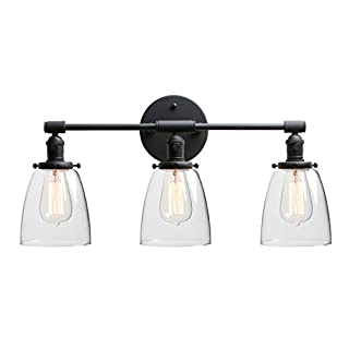Phansthy 3 Lights Wall Light, Vintage Wall Lamp with Switch Industrial Wall Sconce Fittings Edison Bulb Lamps with Oval Glass Shade for Vanity Mirror Bathroom Fixtures E27 Socket (Black)
