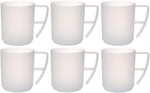 idea-station NEO Kunststoff-Tassen 6 Stück, 350 ml, mehrweg, bruchsicher, transparent, klar, Henkel, Griff, Kaffee-Tassen, Kaffee-Becher, Cappuccino-Tassen, Tee-Tassen, Tassen-Set, bruchsicher