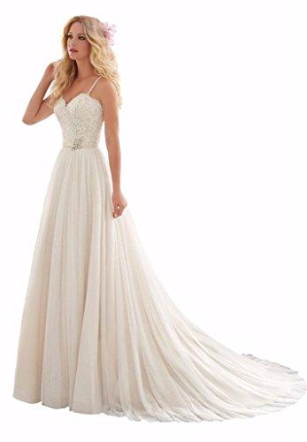 Changjie Damen Spaghetti-Tr?ger Kristall Perlen Langes Abendkleider SpitzeAppliques Hochzeitskleider...