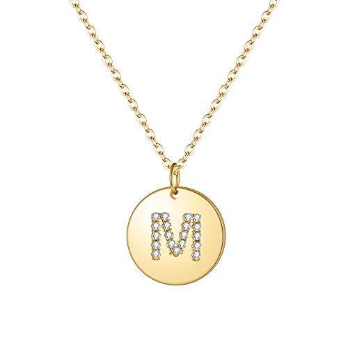 Clearine Damen Halskette 925 Sterling Silber Zirkon Runde vergoldete Premium Buchstabe M Alphabet Münze Coin Anhänger Kette in 14 K Gold-Ton - Silber-gold-ton
