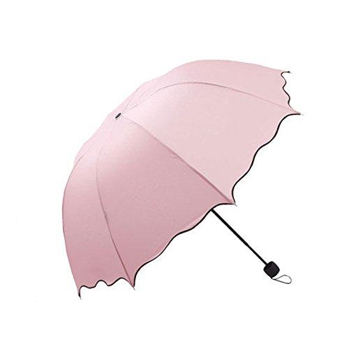 PANGUN Honana Hn-Ku5 Multicolor Flouncing Dome Sonnenschirm Klapp Schirm Sonne Regen Wind Für Lady Girls-Rosa