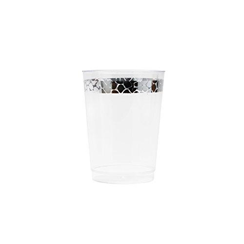 Decorline- Vaisselle de luxe à usage unique Blanc avec bord en argent - Effet Martelé -Party-Jetable -plastique rigide (Verres jetable 300ml