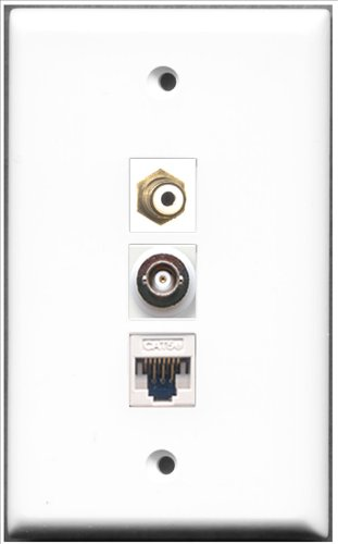 Decorator 1 Jack Single Gang (RiteAV - 1 Port RCA und 1 Port BNC und 1 Port Cat5e Ethernet White Wall Plate)