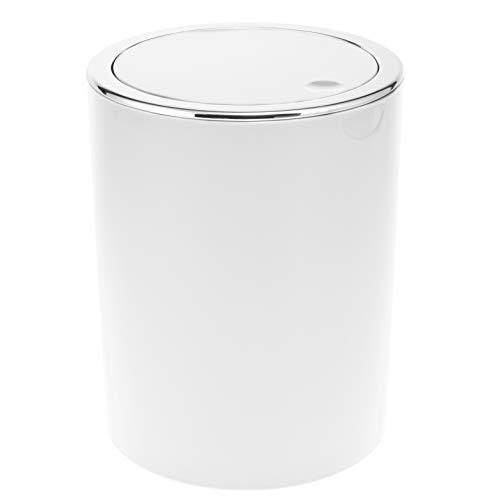 bremermann Bad-Serie Savona - Kosmetikeimer mit Schwingdeckel, Badeimer, Kunststoff, 5,5 Liter (Weiß)