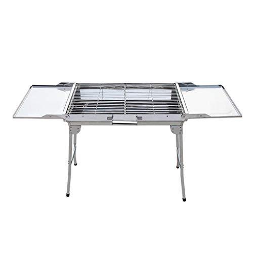 JiaJu Holzkohlegrill Tragbarer Klapp Grill, Edelstahl Picknickgrill Mit Belüftung/Grillfläche 60.5X30.5cm