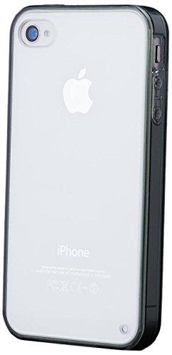 iCues Apple iPhone 4/4S |  Bumper Case Klare Rückseite Weiss | [Display Schutzfolie Inklusive] Extra Leicht sehr Dünn Transparent Klarsichthülle Durchsichtig Klare Klarsicht Silikon Gel Schutzhülle Hü Schwarz