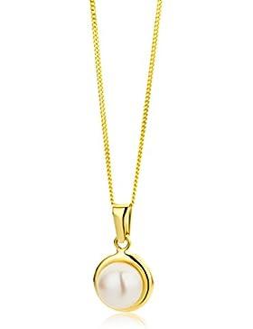 Miore Damen-Halskette 9 Karat (375) Gelbgold mit Süßwasser-Zuchtperle Anhänger 45 cm Kette MA9074N