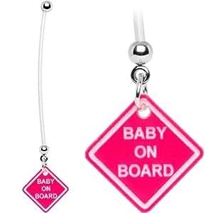piercing nombril femme enceinte, baby on board rose/rouge speciale bioflexible femme enceinte