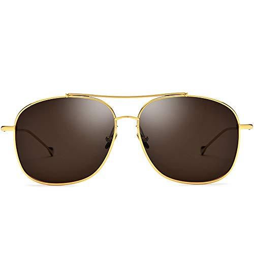 Neue ultraleichte Sonnenbrille aus reinem Titan for männliche Fahrer-Schutzbrillen Polarisierte quadratische Sonnenbrille Weiblicher Goldrahmen Braunes Objektiv UV400-Schutz Brille