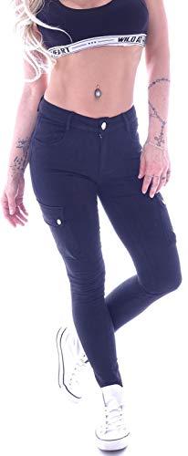 Style-Station Damen Boyfriend Jeans Cargohose Cargo Hose Baggy Haremshose Chino XS 34 S 36 M 38 L 40 XL 42 (L 40, Schwarz)