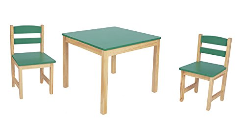 ts-ideen Tavolo 2 Sedie per Bambini Set Legno Verde