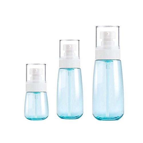 Bouteilles en plastique bleues bouteilles de voyage récipients liquides / 3 pièces