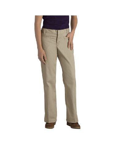 Dickies - - KP5111 Mädchens Stretch Brustleistentasche Flare Pant Bottom (7 - 20), 10, Khaki (Mädchen Bottom Pant Flare)