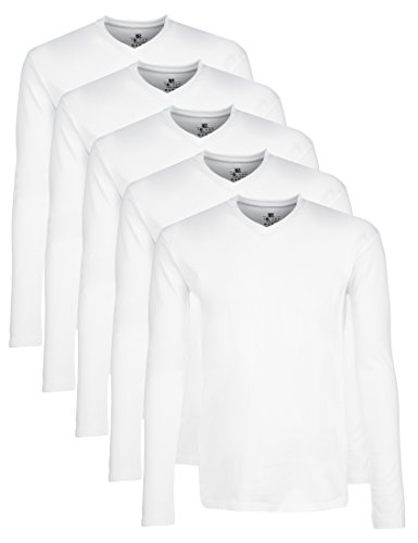 Lower east t-shirt a maniche lunghe con scollo a v, pacco da 5, bianco, m