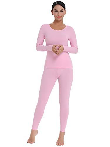 Amorbella Damen ultra weich thermo-unterwäsche set baumwolle lang johns base layer mit fleece-futter klein leichtbau-rosa - Kleine Thermische