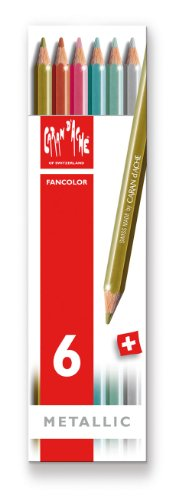 Preisvergleich Produktbild CARAN d'ACHE - FANCOLOR Aquarelle Kinder Buntstifte in Metallbox - Metallic 6 Stück