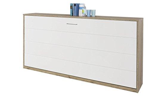 Querklappbett Eiche/alpinweiß Klappbett Querklappbett Schrankbett Bett 90x200