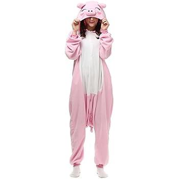 8d96d79ec6440 Venaster Pyjamas Rose Cochon Porcins Cosplay Adulte Unisexe Anime Onesies  Deguisement Animaux Siamois Romper Pajamas Vêtements