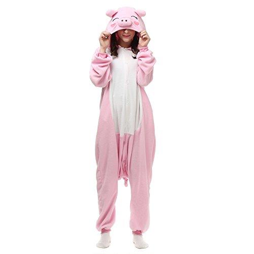 Pijamas Enteros Cosplay Adulto Ropa de Dormir Hombre Camisones Disfraces Carnaval Ropa Pijamas de Una Pieza Mujer Cerdo Rosa
