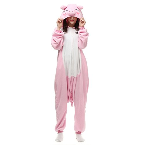 Venaster Pyjamas Damen Rosa Schwein Erwachsene Unisex Animal Cosplay Overall Pajamas Anime Schlafanzug Jumpsuits Spielanzug (Pyjama Onesies Kostüm)