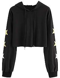 1a22c615509100 HWTOP Sweatshirts Hoodies Damen Oberteil Hemd Pullover Locker Sport  Bauchfrei Kleidung mit Kapuzen Pentagramm Drucken…