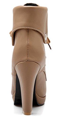 YE Damen Blockabsatz Plateau High Heel Stiefeletten mit Schnürung und Nieten Elegant Herbst Winter Schuhe Short Ankle Boots Khaki
