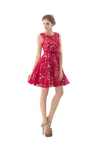 KekeHouse® Robe de soirée femme Robe demoiselle honneur Robes de bal Vacances Robe de fête Dentelle élégante Courte rouge Rouge