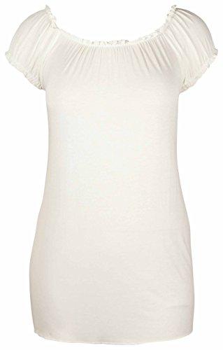 Camiseta-larga-sin-hombros-con-ajuste-elstico-para-mujer-talla-grande