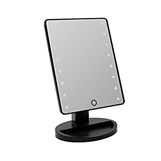 Batteriebetriebener 16 LED Makeup Spiegel   Kosmetikspiegel mit dimmbarer Beleuchtung, 180° Rotation verfügbar, Schwarz