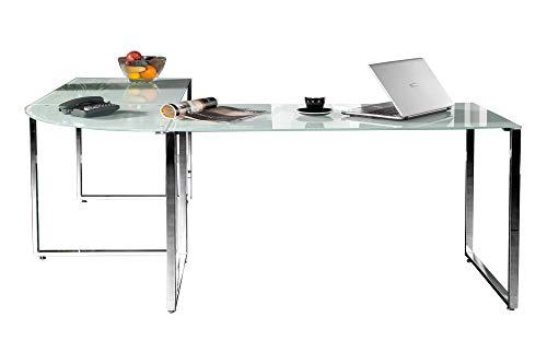 Eckschreibtisch Weiss Glas Schreibtisch Glasschreibtisch Office Design Büro Möbel Tisch Glas Chrom (Büro Glas-schreibtisch)