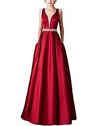 6926777b0986 LaoZanA Donna Vestiti Lunghi da Sera Elegante Abito da Partito Festa  Banchetto Senza Maniche
